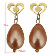 Stainless Steel Gold-Toned Heart & Pink Glass Pearl Tear Drop Earrings