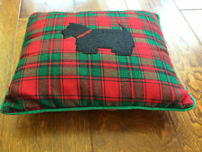 Scotty dog red and green tartan plaid pillow 12 x 11 inches
