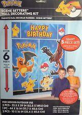 Pokemon Gigante 5 Piezas Kit De Decoración De Pared De Cumpleaños (6' de altura) 5 Decoraciones