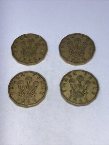 1942  three pence, 3d coins x 4