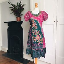 Vintage 90s Pink Green Gold Batik Print Floral Embroidered Hippy Dress 18