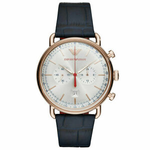 Emporio Armani AR11123 Rose Gold Silver Sunray Dial Blue Leather Chrono Watch