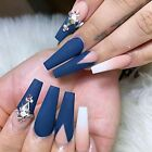 Matte Rhinstone Extra Long Press on Nails Acrylic Blue Ombre Fake Nails