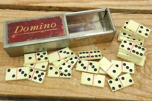 Miniature Bone Domino Set in Red Leather Labeled Metal Box - C1900
