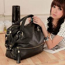 Korean Fashion Big Capacity Black Shoulder Handbag PU Leather Bag Hobo