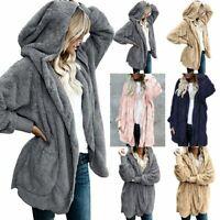 Women Winter Fur Fluffy Coat Fleece Jacket Hoodie Casual Long Cardigan Outwear