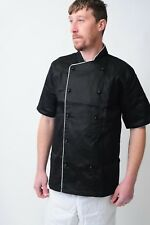 More details for chefs jacket chef coat white & black with piping coat chefwear unisex catering
