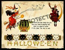 Primitive Halloween Witches Postcard Print   PT6     8x10