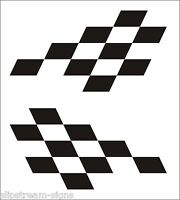 2x Large Chequered vinyl stickers graphics decals stock car racing dirt bike van