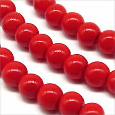 Lot de 50 Perles Nacrées en Verre 6mm Rouge Vif