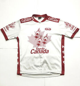 VINTAGE Louis Garneau white/red Tour du Canada 2000 cycling jersey men's L