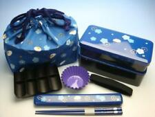 Japanese Fuku Ume Blossoms Rabbit BLUE Shokado Bento Box Chopsticks Bag 6P Set