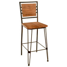 New Canteen Steel Bar Stool with Distressed Solid Oak Wood Seat and Back