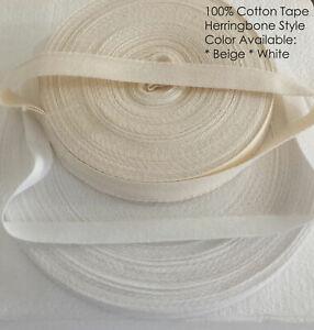 "20mm 3/4"" Cotton Herringbone Twill Tape Fabric Dress Making sewing Bunting STRAP"