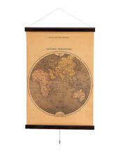 Enorme 70cm Atlas Globo Mundo Mapa Espiral Decoración Pared colonial madera