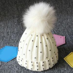 Cute Toddler Kids Baby Hats Girl Boy Baby Winter Knit Hat Beanie Fur Pom Pom Cap