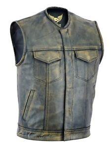 Men SOA Anarchy distress brown motorcycle biker Leather Vest with Gun Pockets