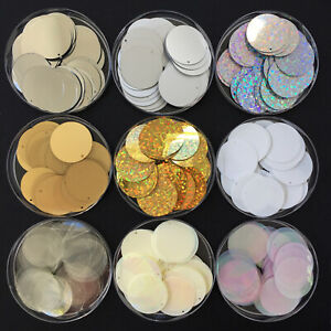 Large Sequins/Round Discs 100 x 24 mm, in 24 colours. Sewing/Costume/Crafts/DIY.
