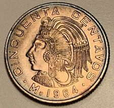 1964-Mo MEXICAN CINCUENTA 50 CENTAVOS BU UNC BEAUTIFUL COIN WITH GREAT LUSTER #2