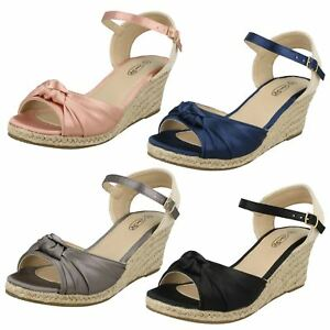 Ladies Spot On Twist Bow Ankle Strap Wedge Sandals