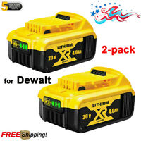 2 Pack For DeWalt DCB205-2 20V 20 Volt Max XR 4.0AH Lithium Ion Battery DCB206-2