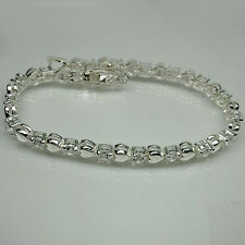 BEAUTIFUL! WHITE SAPPHIRE STERLING 925 SILVER LADY BRACELET 7.5 INCHES