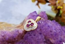 10CT (375) SOLID YELLOW GOLD PENDANT-NATURAL  RUBIES & DIA. (16mm x 11mm) 1.0gr.