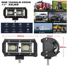 "5.2"" 96W 16000LM 32 LED Flood Beam Super Bright White Work Lights Fog Lights Pod"