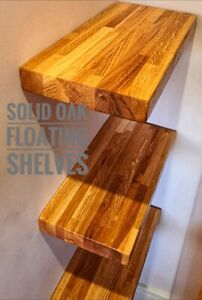 Solid Oak Wooden Floating Shelves - Quality Natural Wood Timber Shelf / Shelving