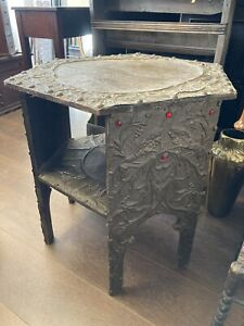 Antique Arts And Crafts, Aesthetic Movemnet Metal Work Table Red Glass