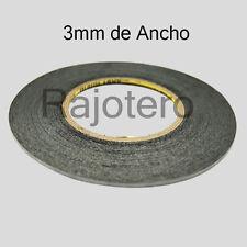 ROLLO DE 50M DE CINTA ADHESIVA DE DOBLE CARA DE 3MM DE ANCHO NEGRA NEGRO
