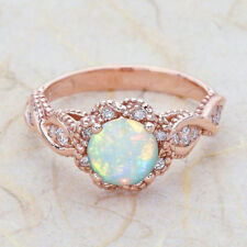 Ring Women Engagement Wedding Jewelry S Gold Toned Fashion White Fire Opal
