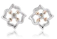 NEW Welsh Clogau Silver & Rose Gold Tree of Life Flower Stud Earrings £30 off!