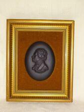 Vintage Framed Wedgwood Black Jasperware Beethoven Plaque