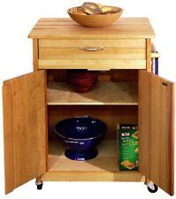 Butcher Block Kitchen Cart w/Towel Bar, Locking Caster Wheels, Drawer & Cabinet