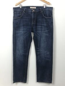COUNTRY ROAD Dark Blue Distressed Straight Leg 100% Cotton Denim Jeans W38 L32