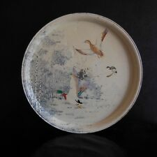 Plateau rond MASSILLY animaux canards sauvages Art Nouveau Design France N3174