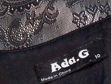 ADA.G BlackSatinLacePanelMiniDress Size10NWoT