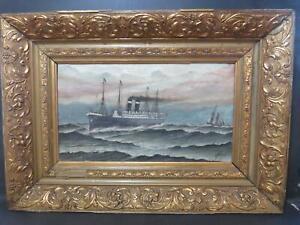 Superb Transatlantic Steamer 1911 Oil Signed Marine Shipping Liner