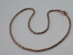 9ct gold box link ankle bracelet