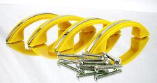 (4) Vintage Art Deco Yellow & Chrome Plastic Drawer Hutch Pulls Cabinet Handles