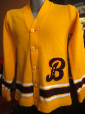 SMALL True Vtg 1970's YELLOW CHEERLEADER LETTERMAN Acrylic CARDIGAN SWEATER