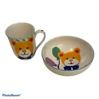 NEW MIKASA HAPPY BIRTHDAY BEAR CHINA CHILDS 2 PIECE DINNERWARE NURSERY SET DW109