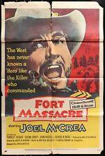 FORT MASSACRE Joel Mcrea WESTERN ORIGINAL 1958 One Sheet Movie Poster
