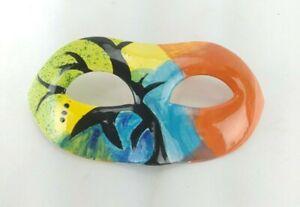 Ceramic Mask Hand Painted Unique Art Signed BTD Multicolor