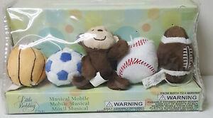 NIP Little Bedding by Nojo Sports Musical Crib Mobile Plush Sports Monkey
