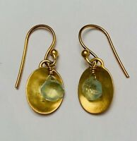 Gold-Plated Circle With Blue Crystal Dangle Earrings Sterling Silver