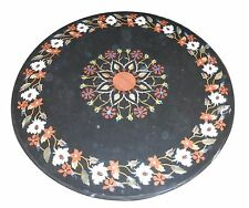 """24"""" Black Marble Center Coffee Table Top Marquetry Gemstone Inlay Outdoor Decor"""