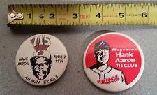 Lot of 2 Vintage Hank Aaron Atlanta Braves Pin-back Buttons Pin 715 Magnavox