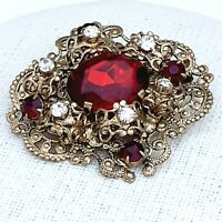 A Really Lovely Vintage 1980s Red & White Rhinestone Filigree Brooch